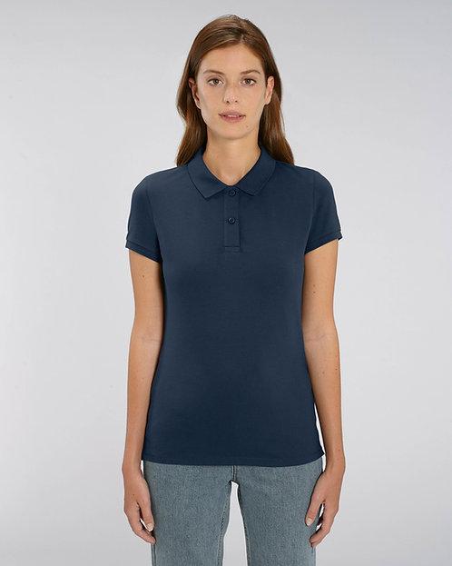 Damen-Poloshirt navy aus Bio-Baumwollmix