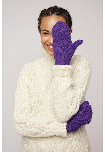 Handgestrickte Handschuhe CABLE MITTENS aus 100%Wolle