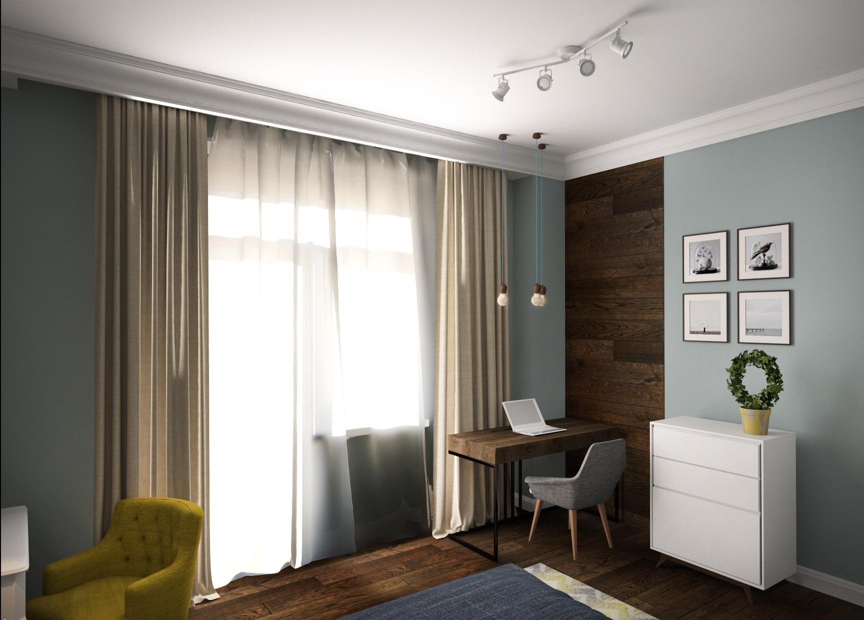 Спальня 2 вид в голубых