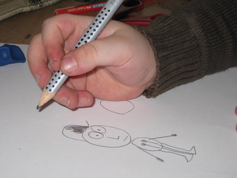 zu viele Finger am Stift