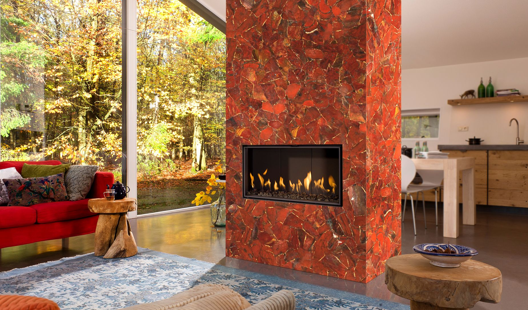 jasper red with gold fireplace