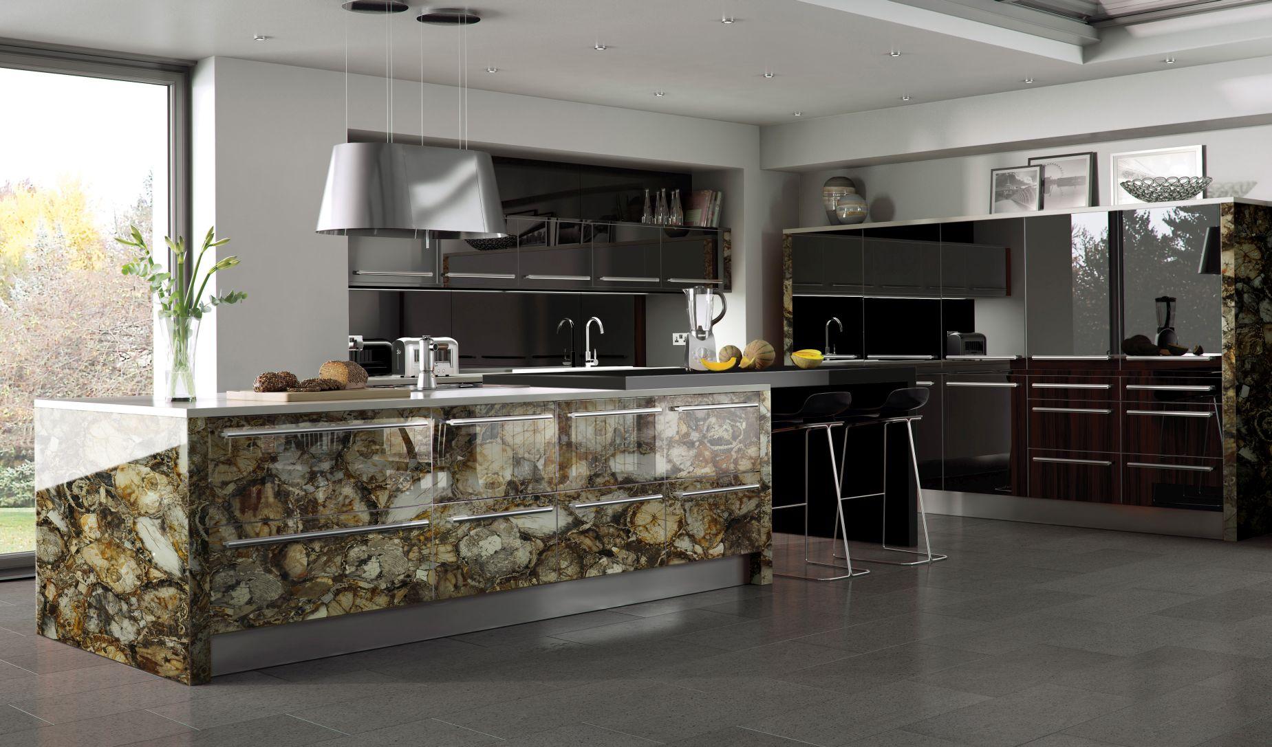 petrified wood brown kitchen