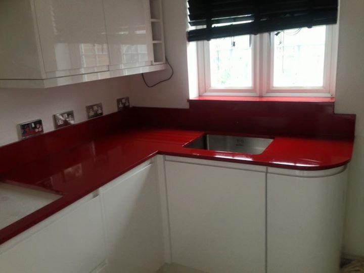 Red quartz kitchen worktop in London (2)