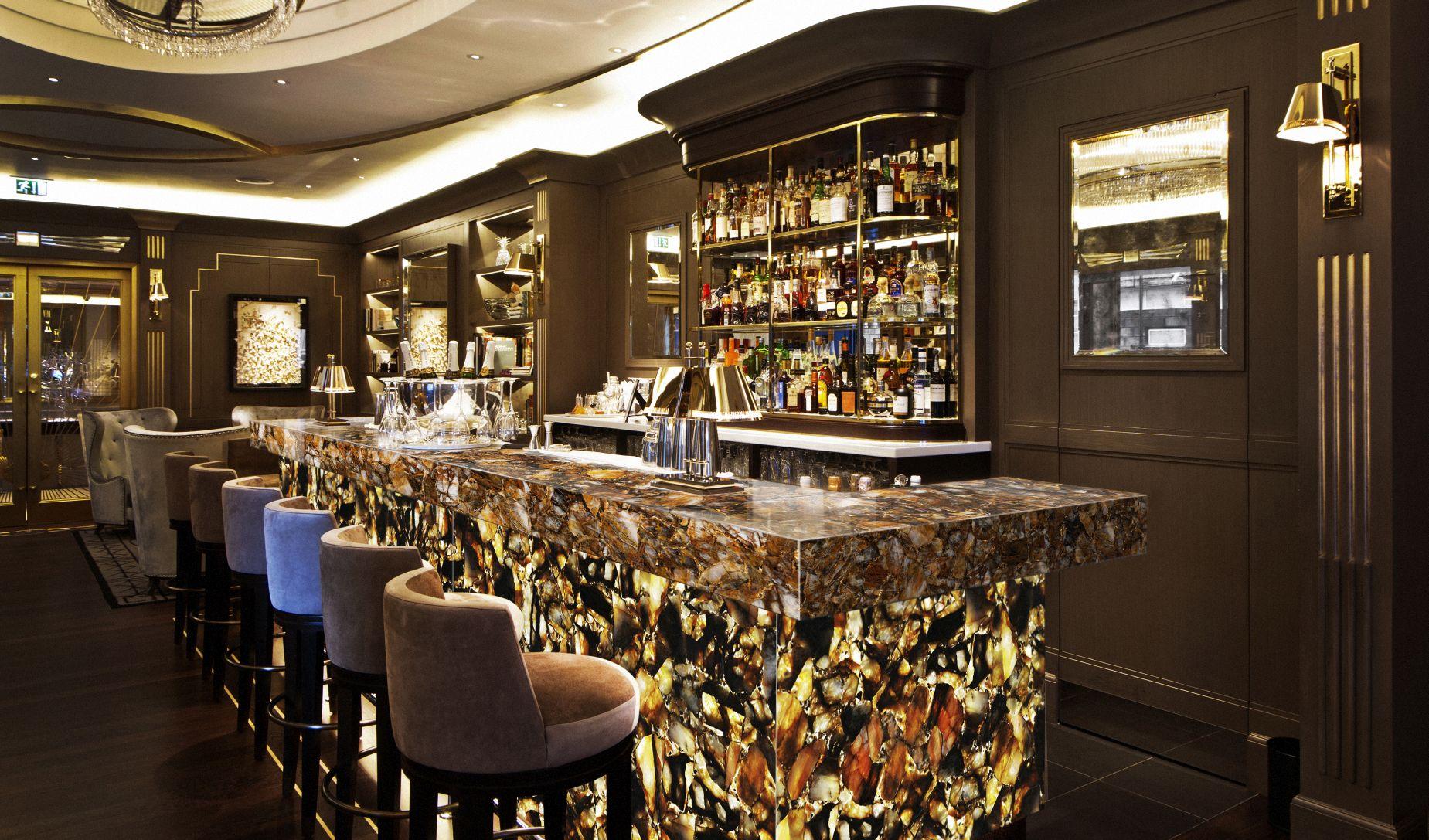 quartz chocolate with gold backlit bar furniture