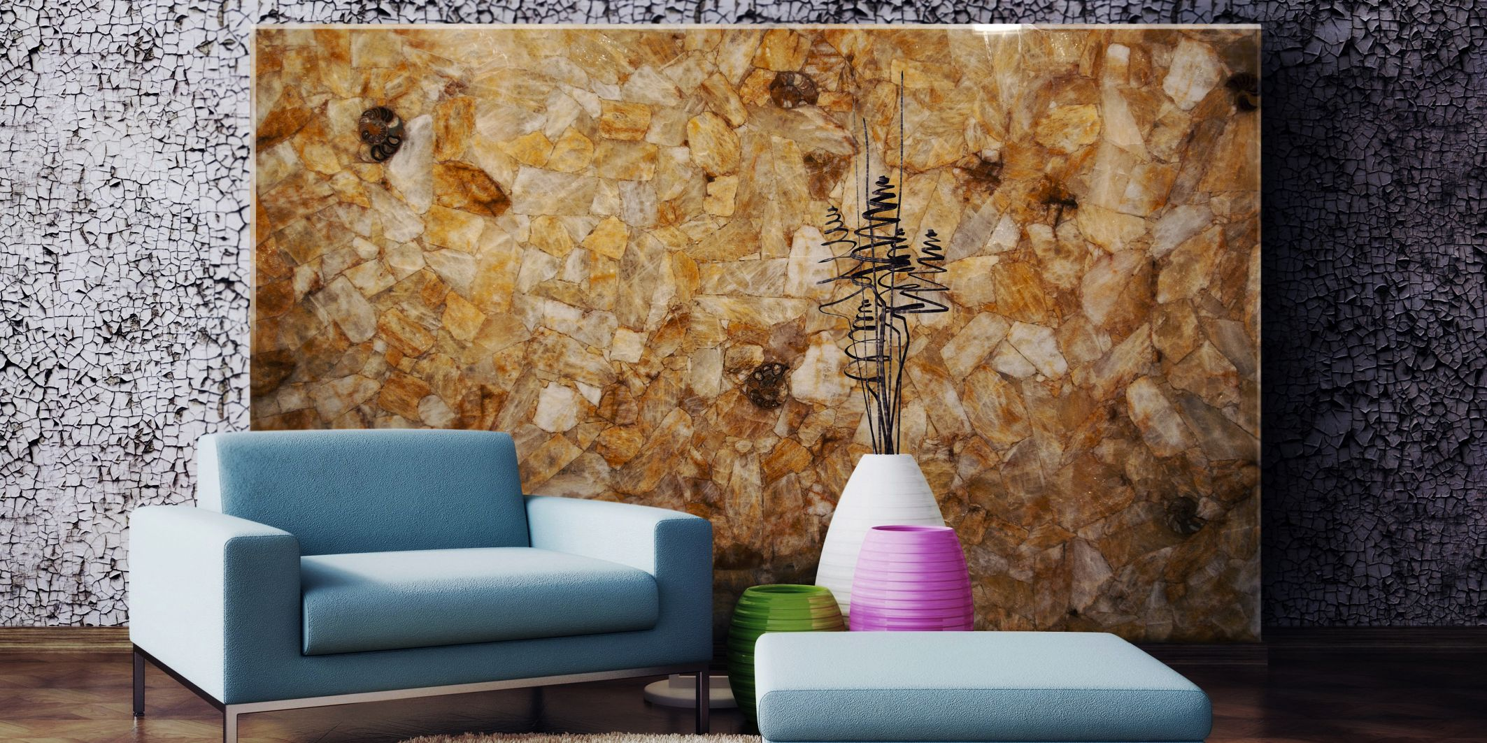 quartz yellow with amonites decorative wall