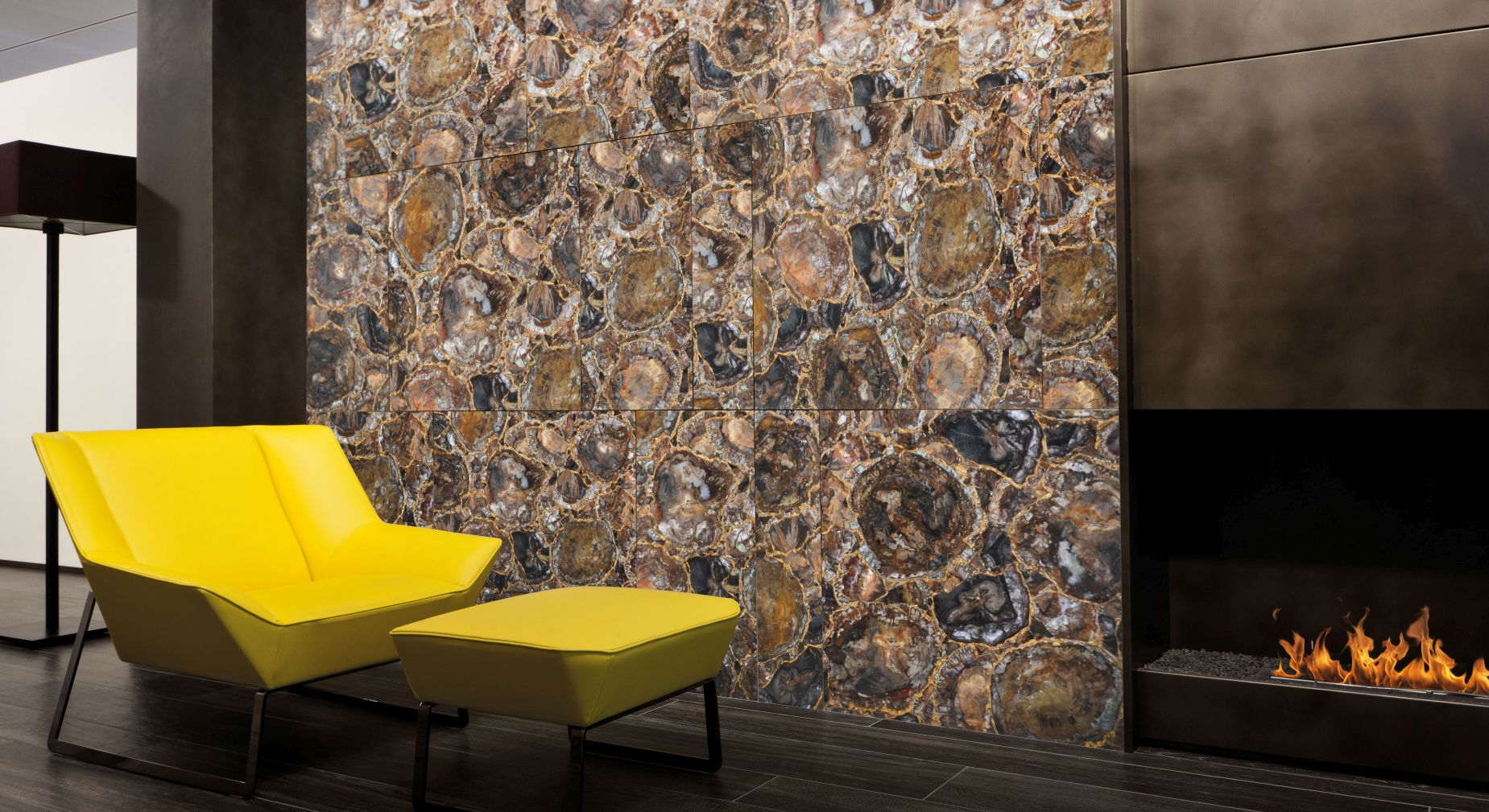 petrified wood with gold decorative wall