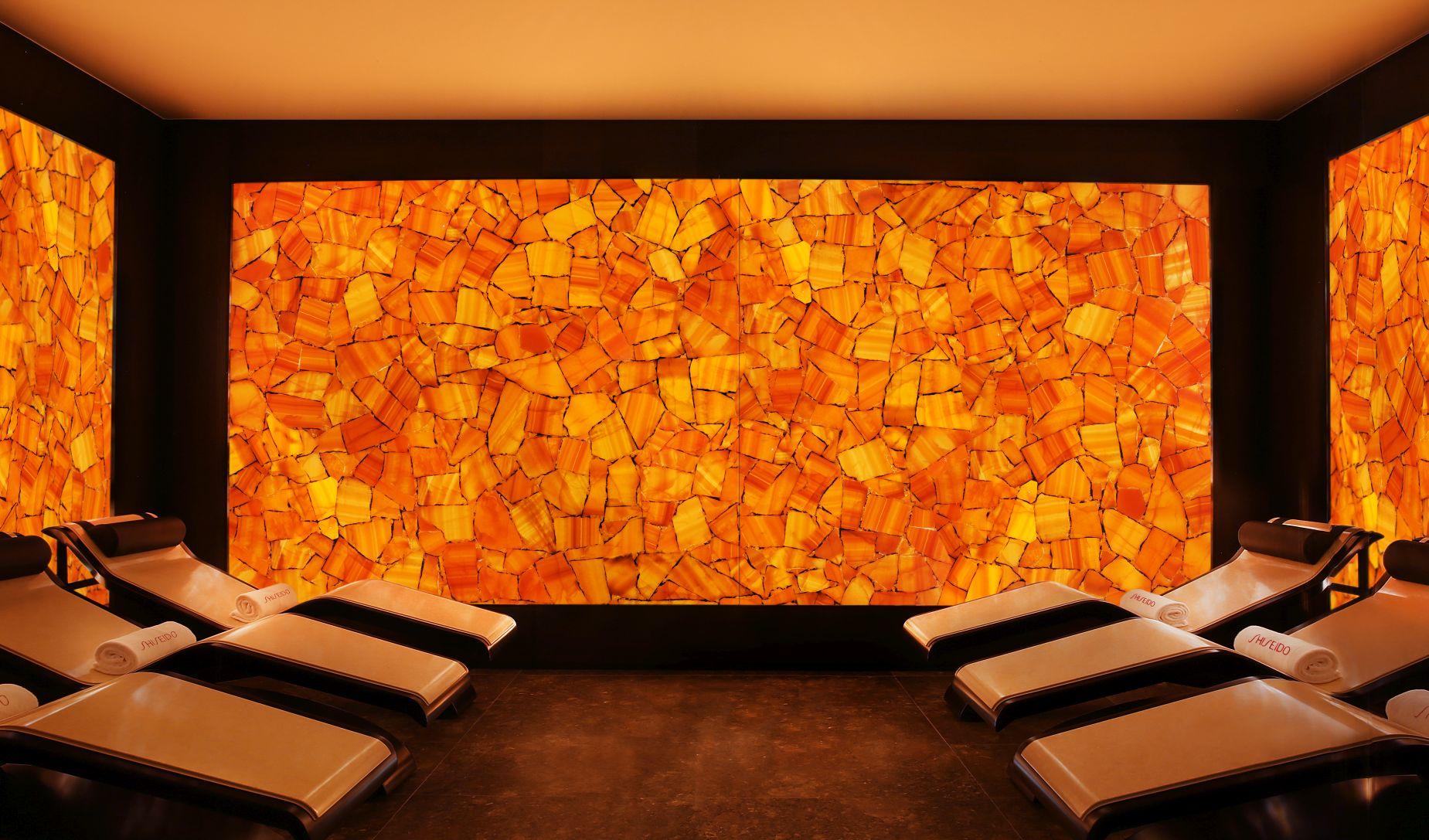 calcite orange with gold backlit spa
