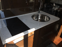 Recessed sink and hob on Carrara composite top  (2)