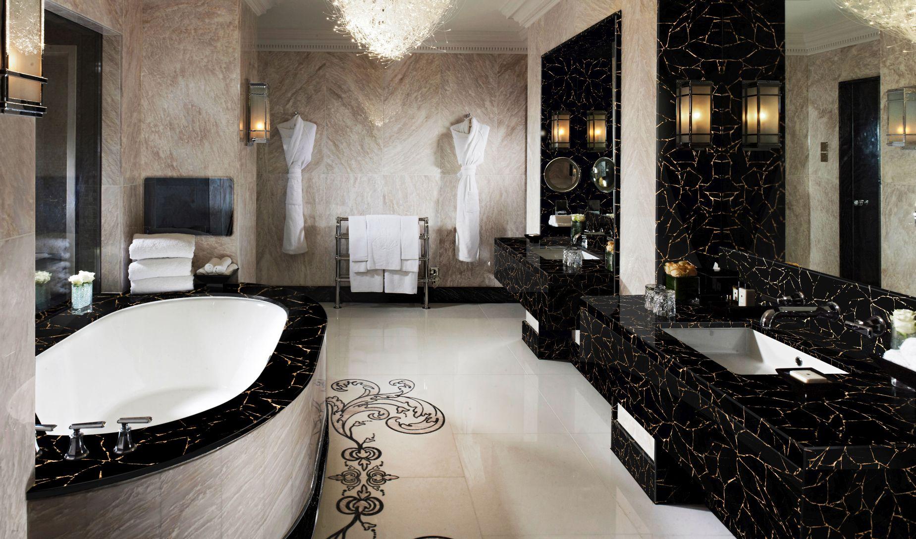 obsidian black withgold bathroom