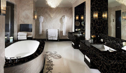 obsidian black withgold bathroom