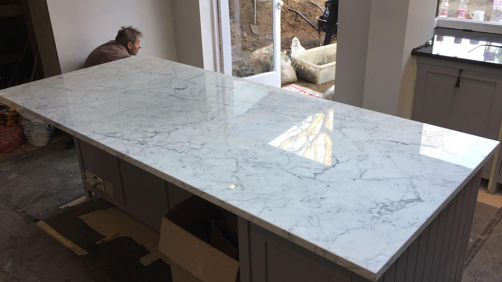 kitchen surfaces combined - Black granite plus Staturio island (6)