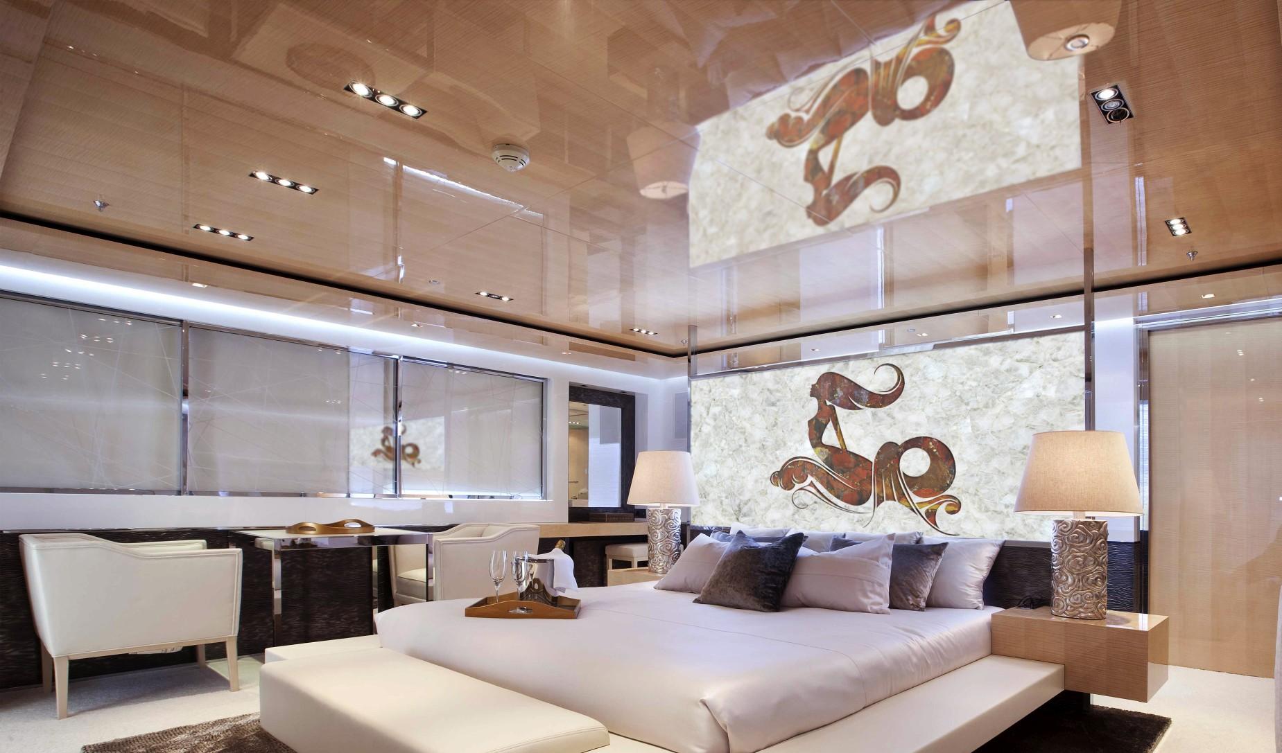 quartz white and jasper red interior yacht