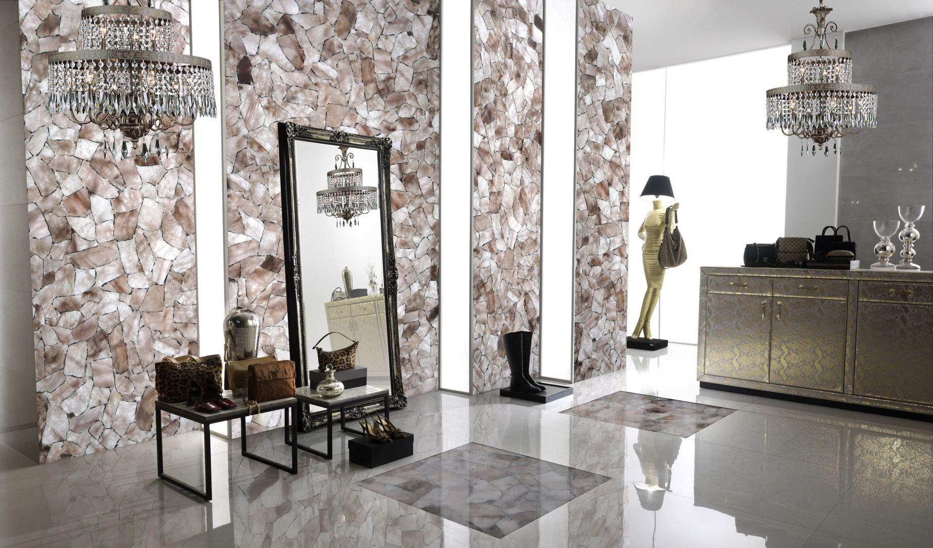 quartz smoky mediu with silver decorative wall backlit