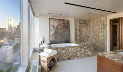 petrified wood yellow bathroom