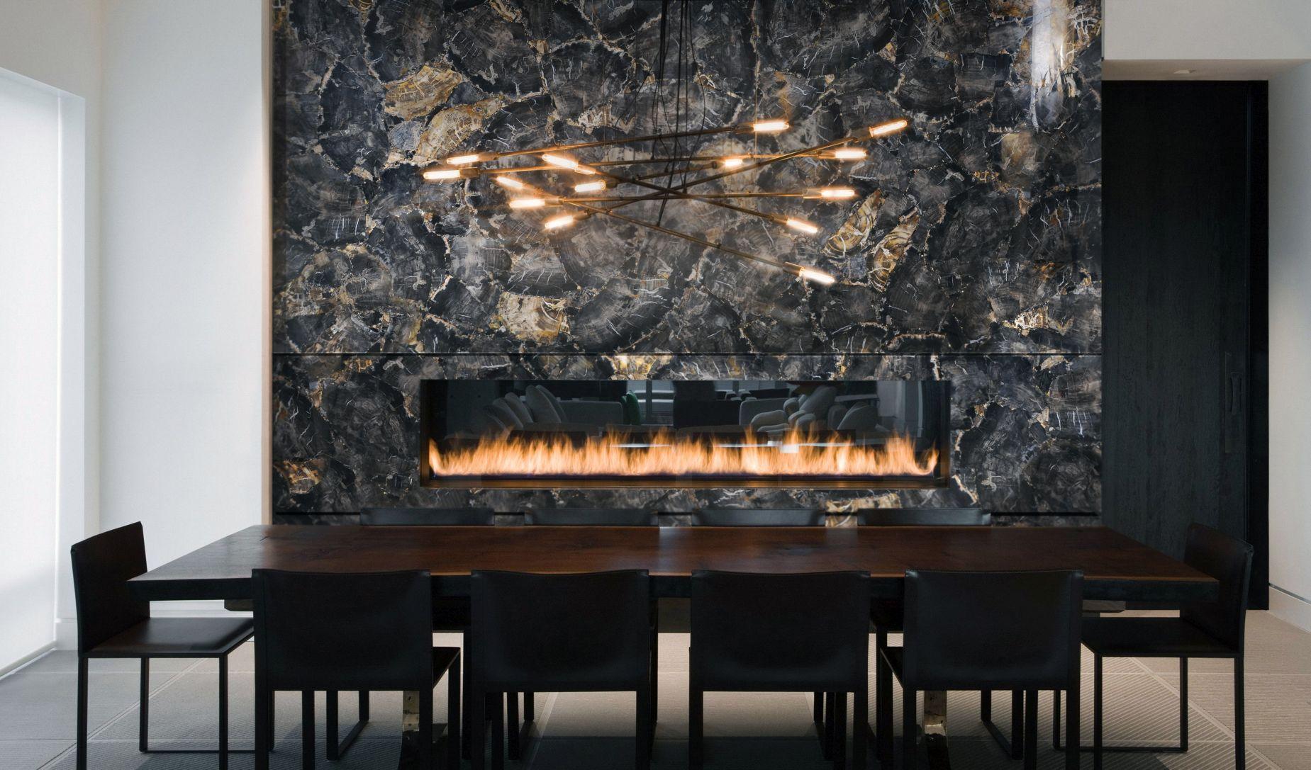 petrified black wood fireplace
