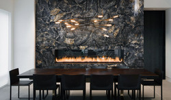 petrified black wood fireplace