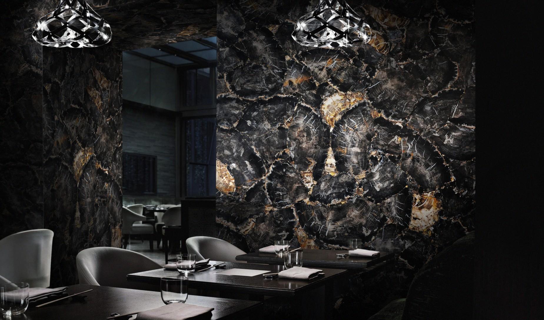 petrified wood wall coverings restaurant