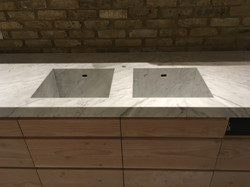 Goia leather marble 70mm edge plus side panel and recessed sinkIMG_9779