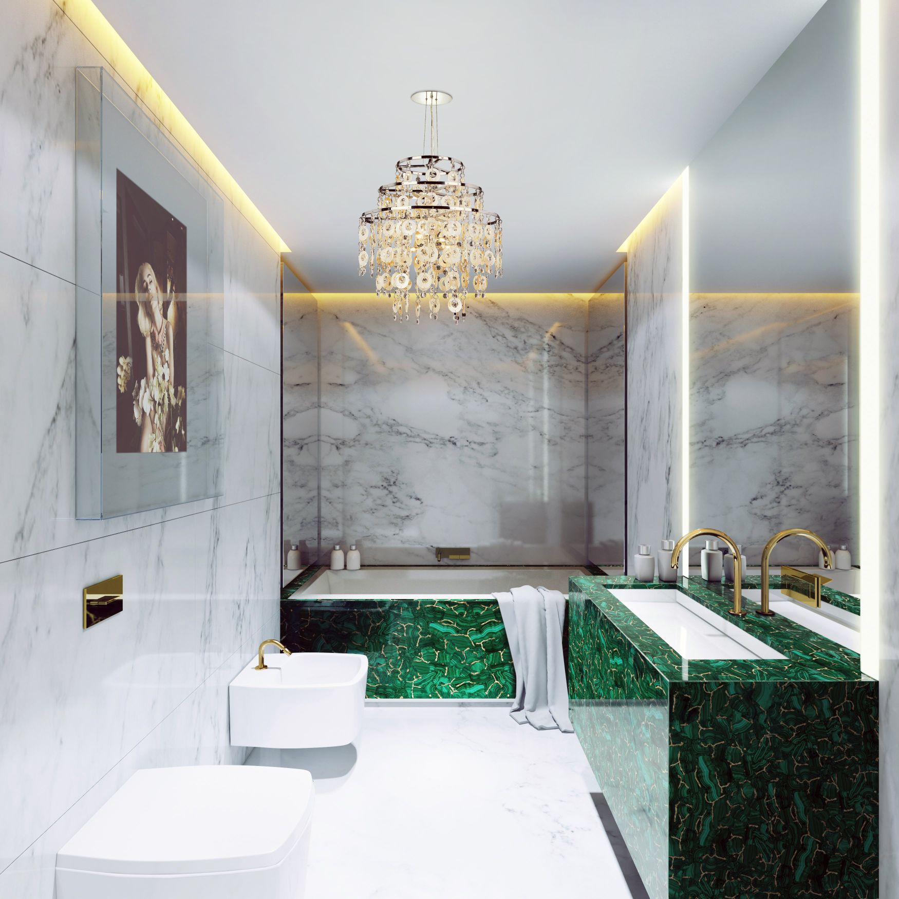 malachite with gold bathroom