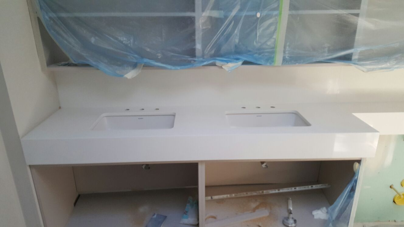 White quartz bathroom panels and vanities  (9)