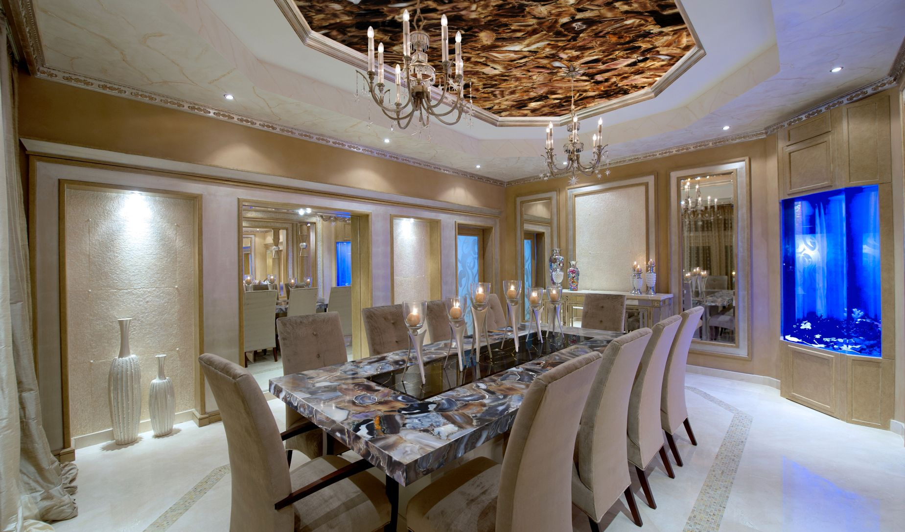 agate rubane + obsidian black with gold table top + backlit ceiling
