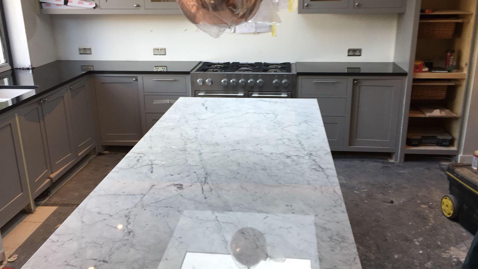 kitchen surfaces combined - Black granite plus Staturio island (8)