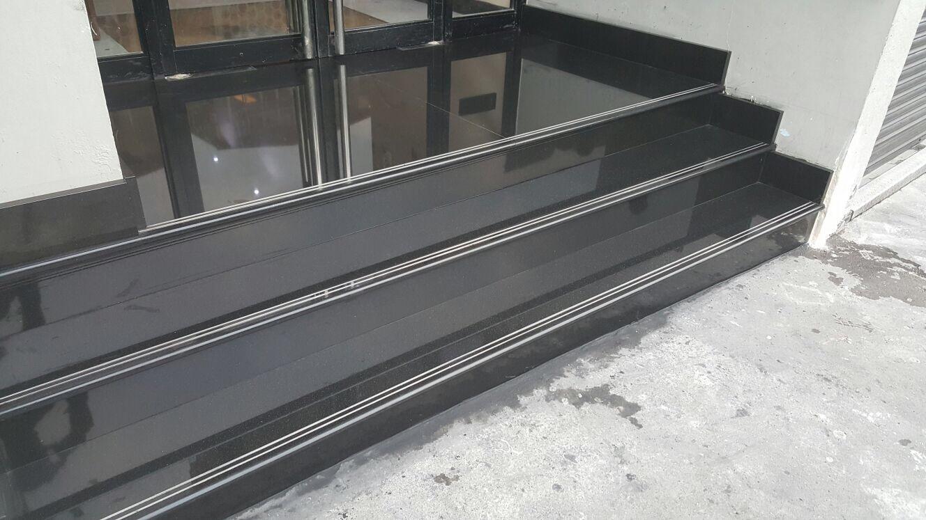 Granite black polish steps in the office building (5)