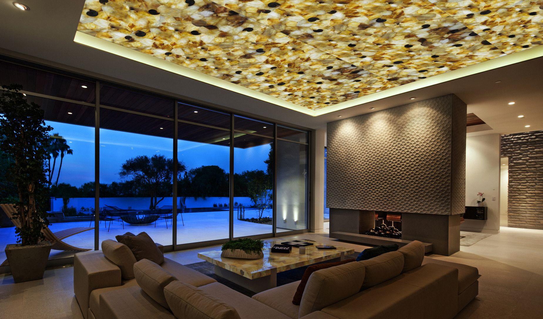 quartz yellow with amonites backlit ceiling