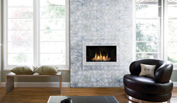 quartz white with silver fireplace