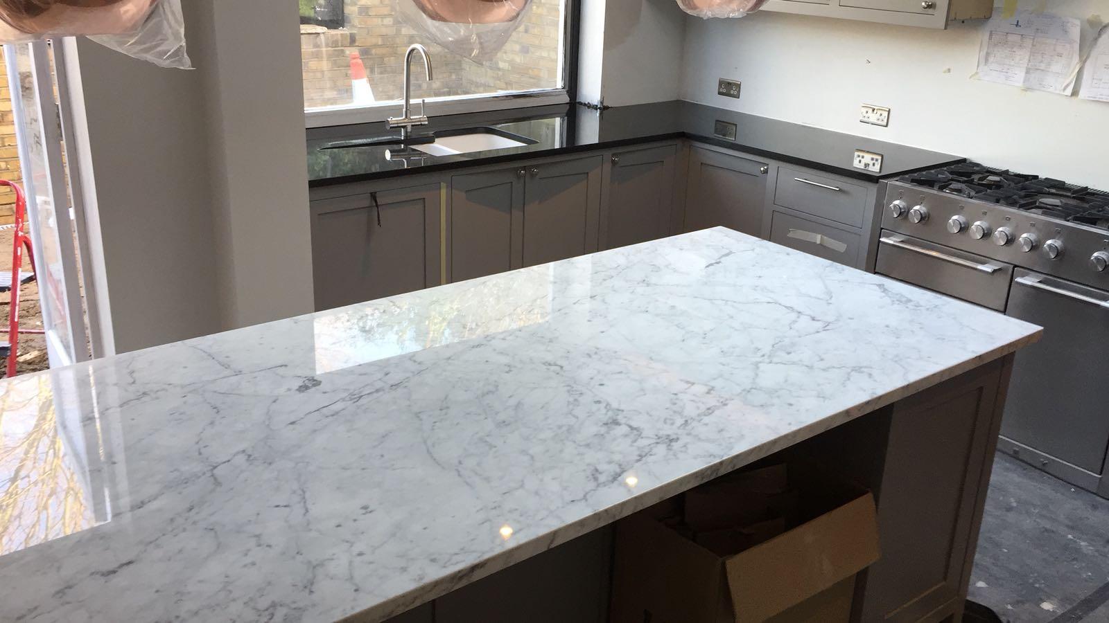 kitchen surfaces combined - Black granite plus Staturio island (7)