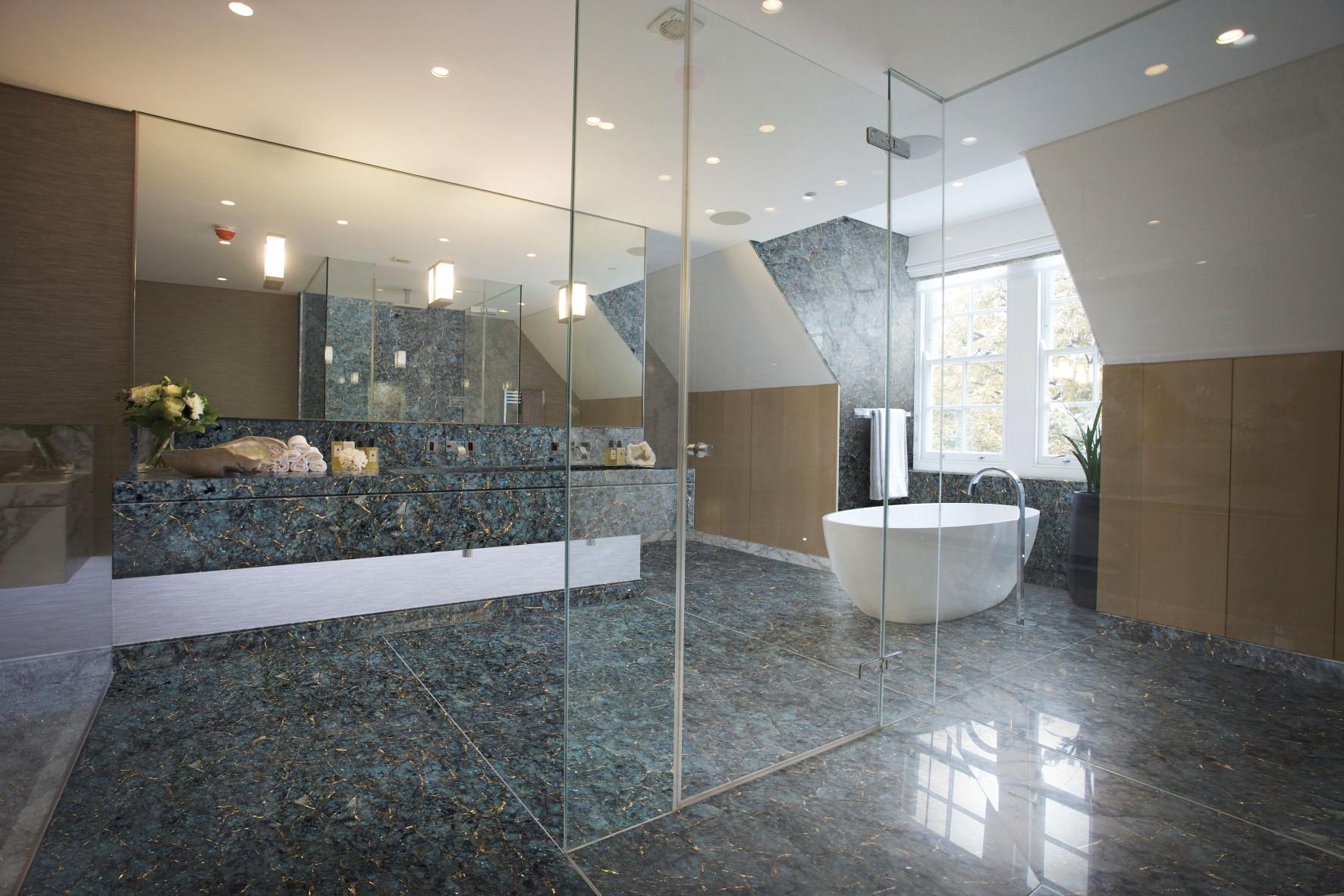 labradorite with gold bathroom