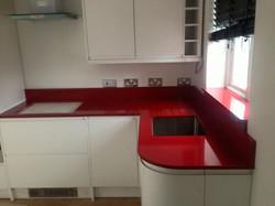 Red quartz kitchen worktop in London (3)