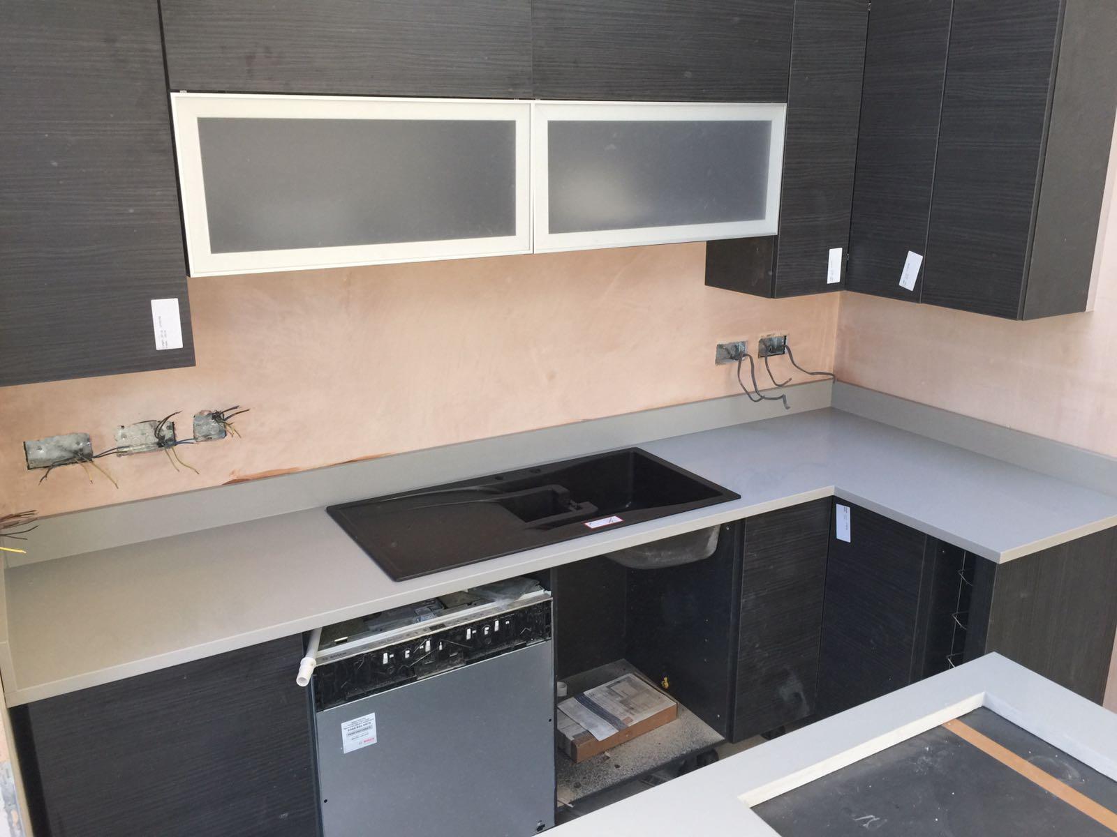 Grey Cement Quartz Kitchen top  (1)