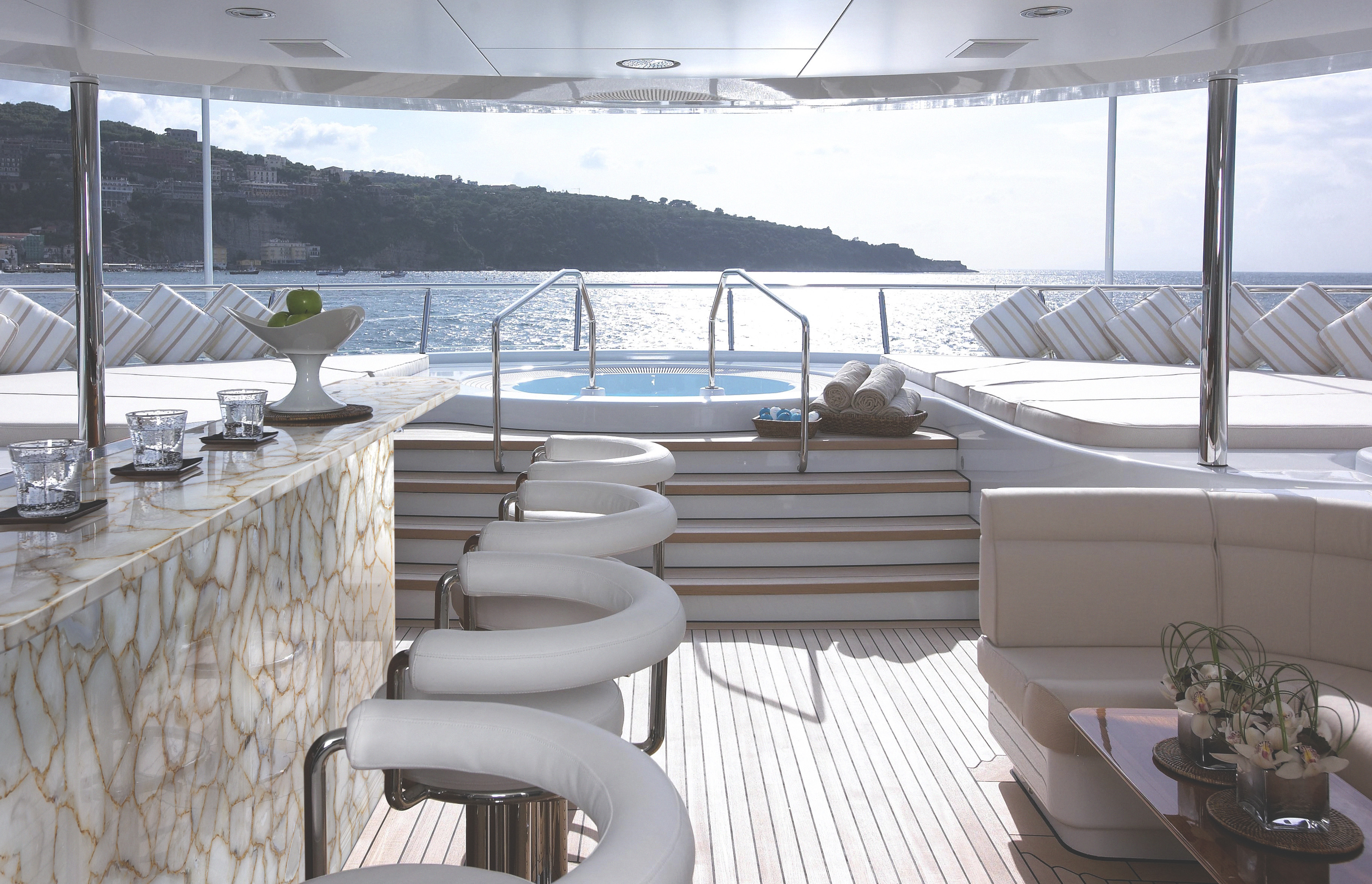 agate crystal with gold outdoor bar on Yacht