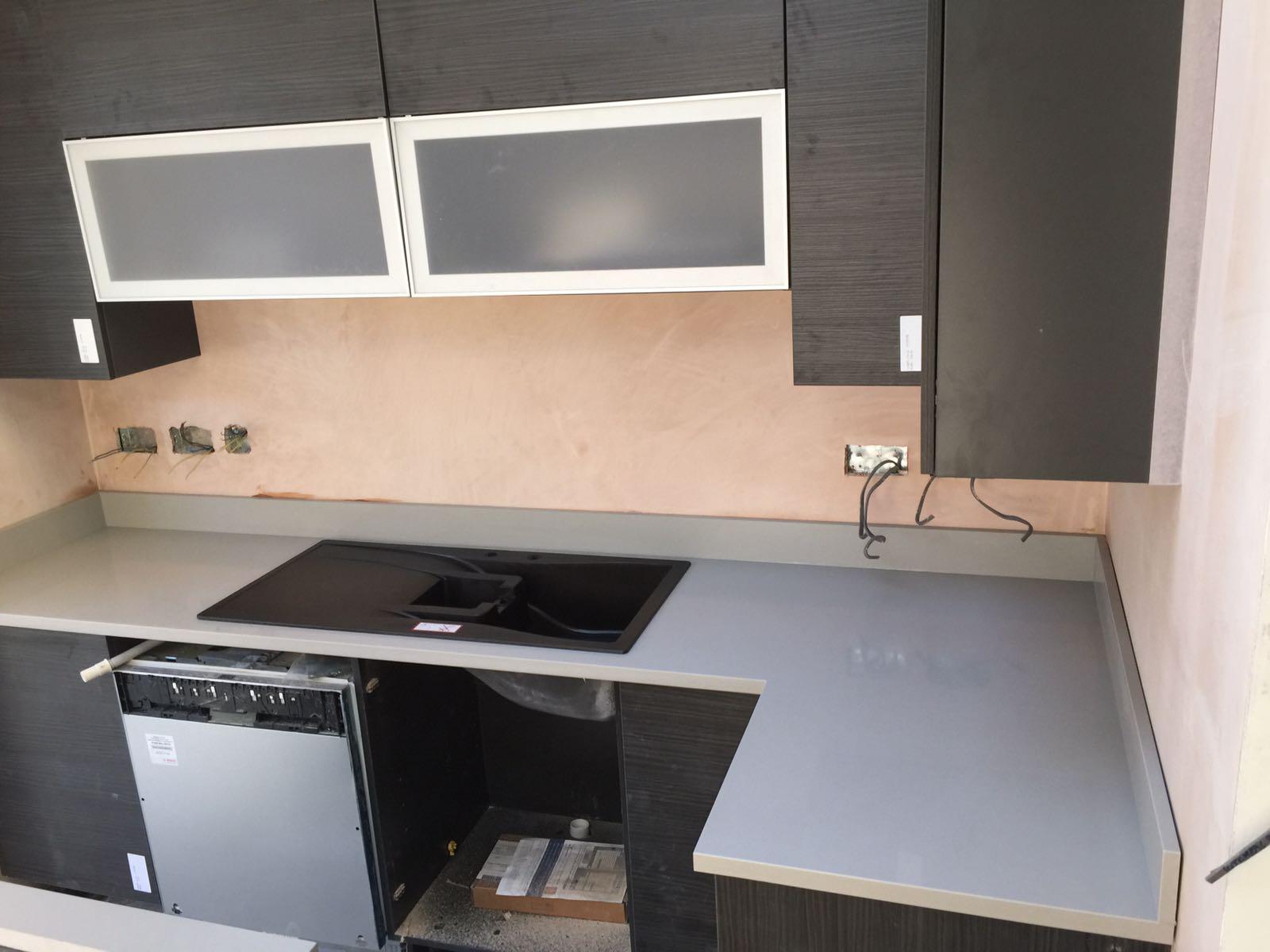 Grey Cement Quartz Kitchen top  (5)