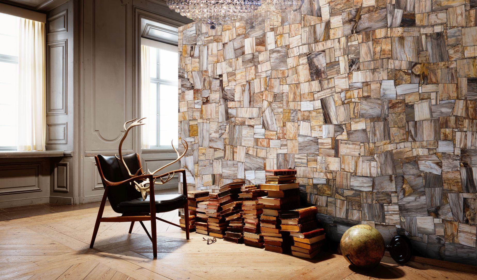 petrified wood brown jurassic random decorative wall
