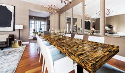 tiger eye gold - blue table top