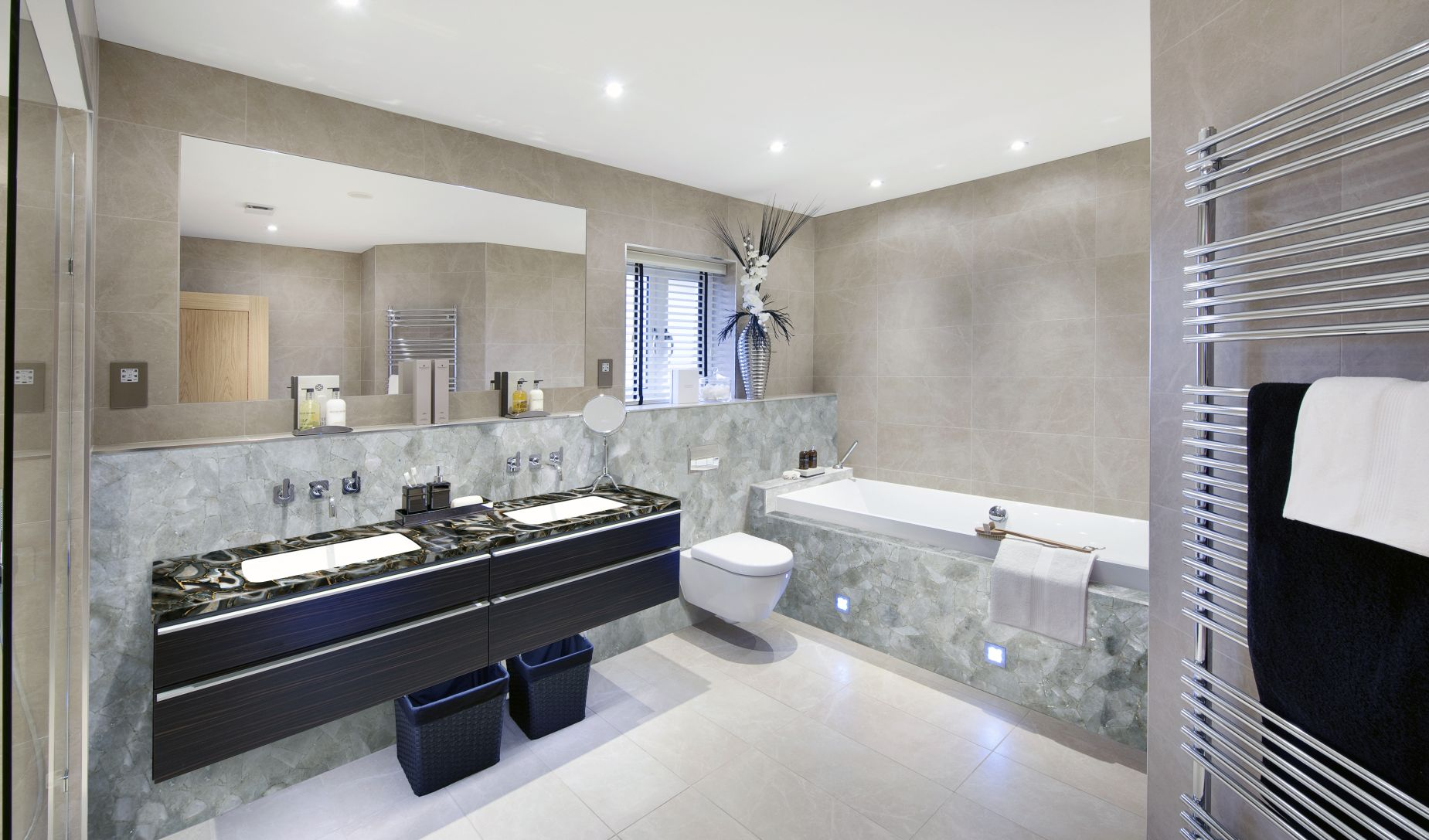 quartz smokey  bathroom