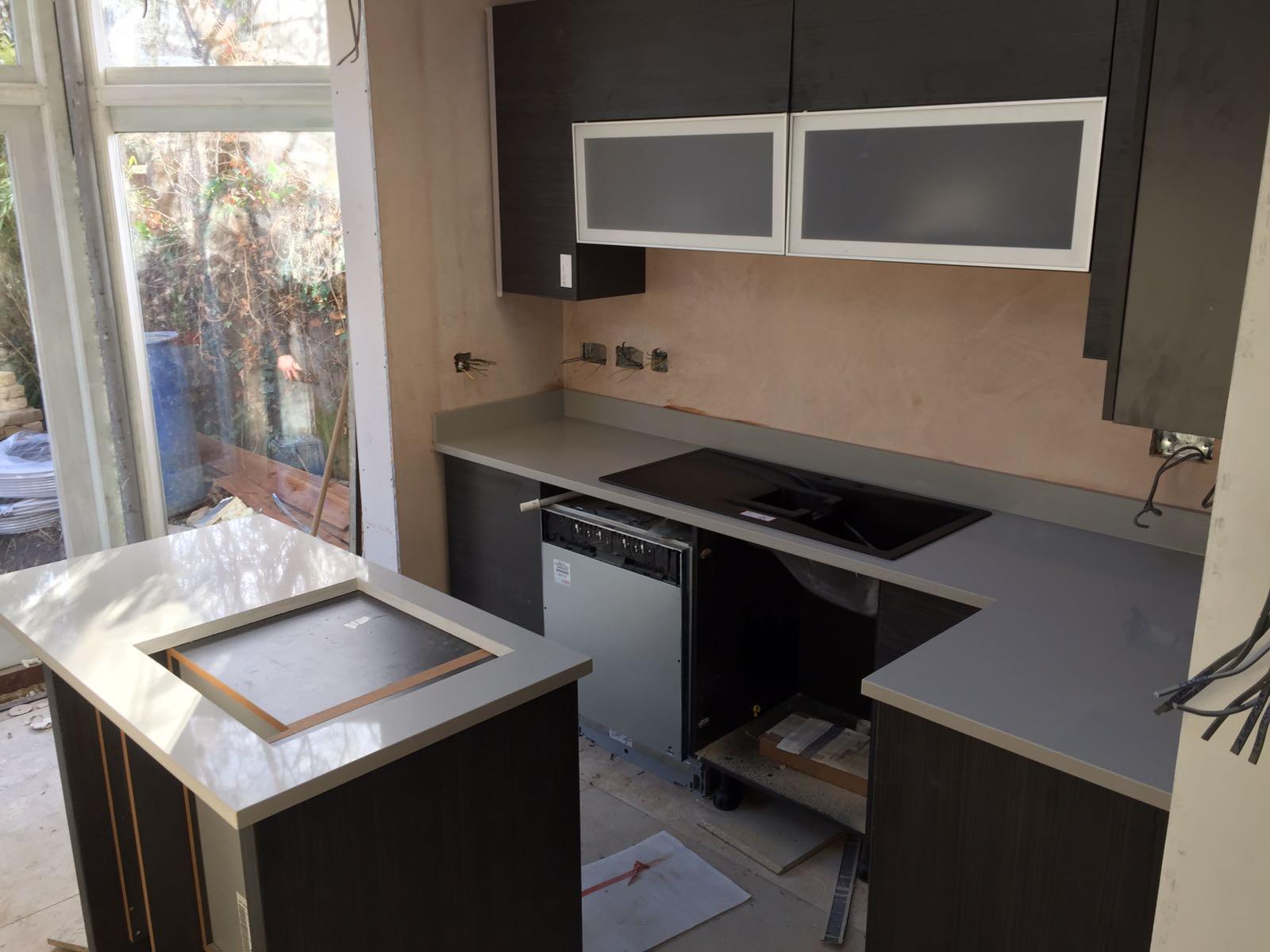 Grey Cement Quartz Kitchen top  (6)