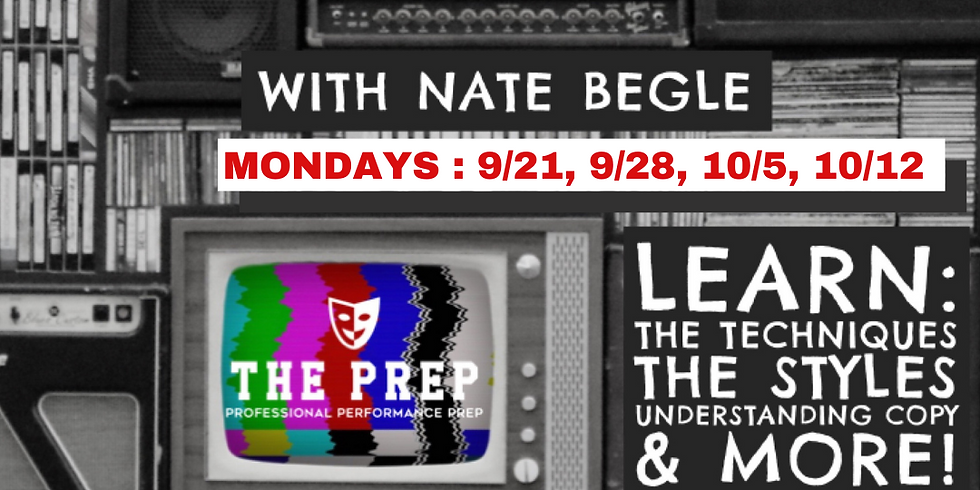 Commercial Voiceover Acting w/ Nate Begle - 4 Week Intensive 9/21-10/12