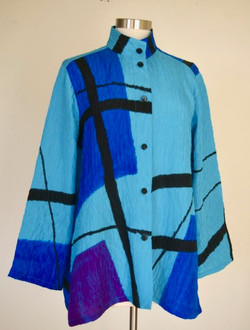 Turquoise Abstract Blouse