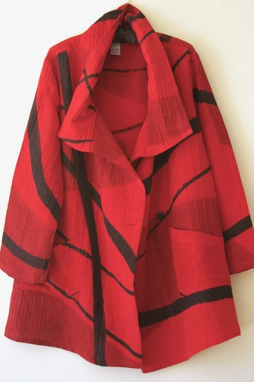 Red Abstact Wrap Collar