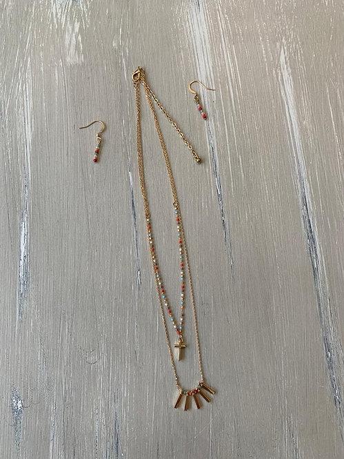 Cross necklace & earrings set