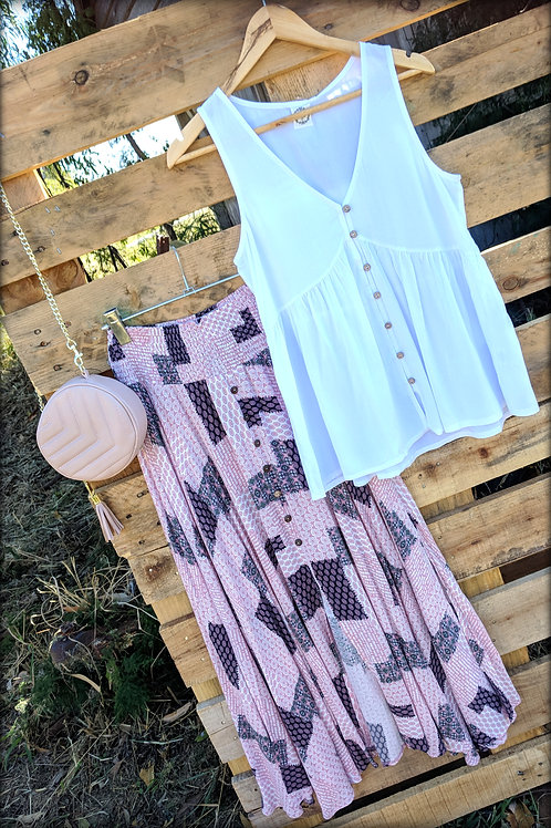 Pink Patchwork Print Skirt