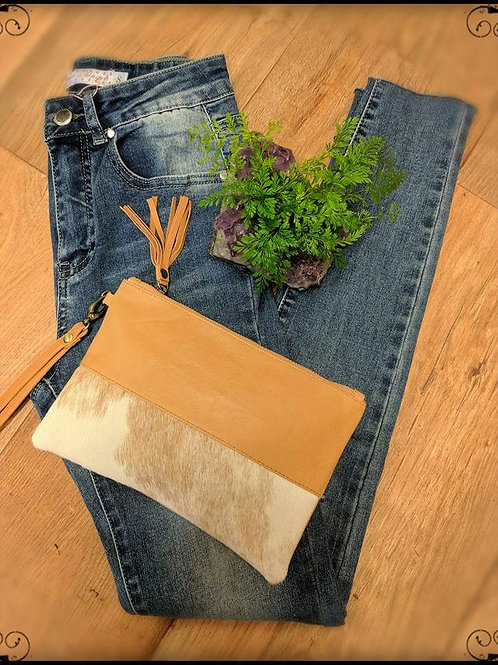 Leather Cow Hide Clutch