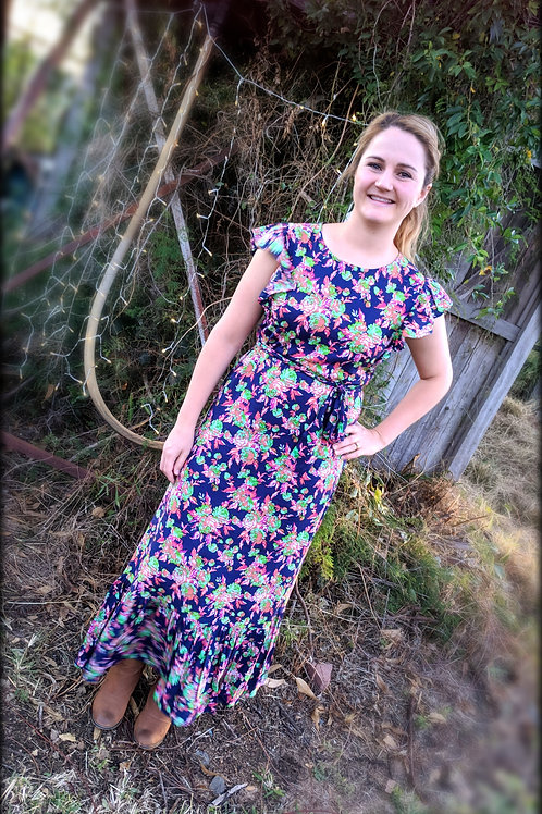 Navy Floral Print Dress with Waist Tie