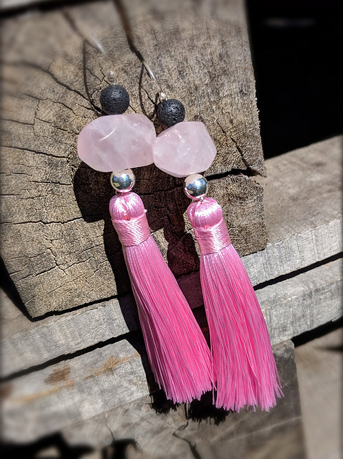 Rose Quartz Aroma Tassle Earrings