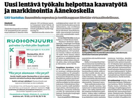 Skydatan kartoitusasiantuntija Matti Hytölä mukana Äänekosken kaupungin kartoitushankkeissa