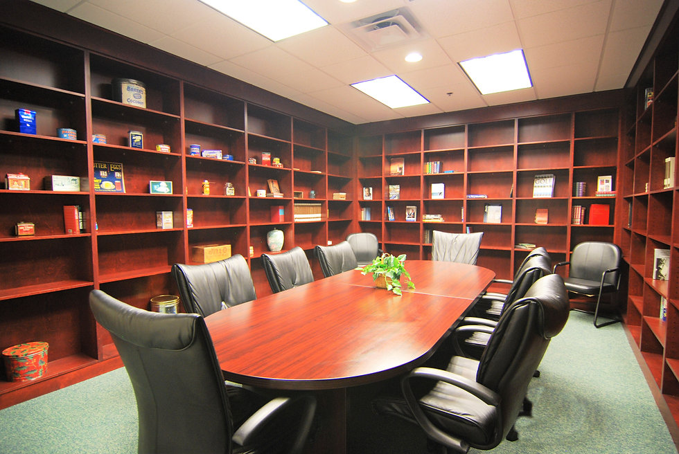 Picture of conference room with built in bookshelves along the entire walls