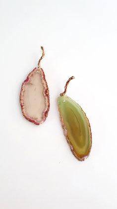 Brinco seiva - bronze e ágatas verde e rosa